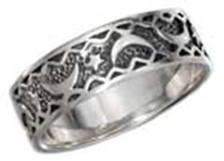 Sterling Silver Moon And Star Band Ring With Antiqued I