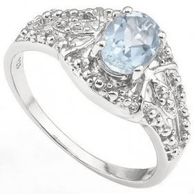0.435 Ctw Aquamarine & Genuine Diamond Platinum Plated