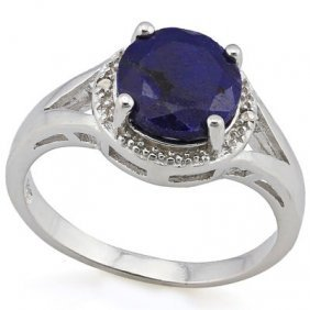 2.335 Ctw Dyed Genuine Sapphire & Genuine Diamond Plati