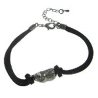 Pewter Tone Biker Punk Skull On Black Suede Bracelet