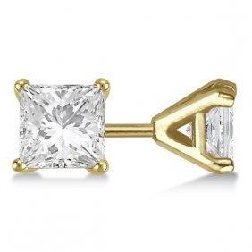 1.00ct. Martini Princess Diamond Stud Earrings 14kt Yel