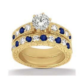 Antique Diamond And Blue Sapphire Bridal Set 14k Yellow
