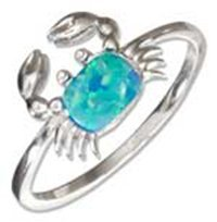 Sterling Silver Synthetic Blue Opal Crab Ring