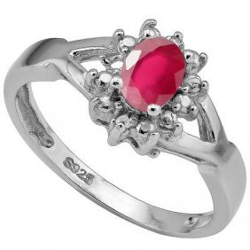 0.575 Ctw African Ruby & Genuine Diamond Platinum Plate
