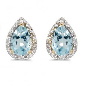 14k Yellow Gold 1.20 Ctw Aquamarine/diamond Earrings