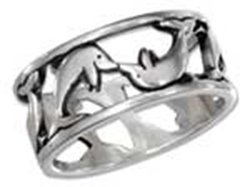 Sterling Silver Dolphin Open Band Ring
