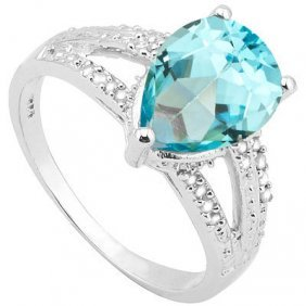 2.302 Ctw Blue Topaz & Genuine Diamond Platinum Plated