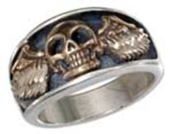 Sterling Silver Mens Bronze Skull With Wings Ring