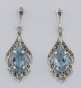 Antique Style Blue Topaz Marcasite Earrings Sterling Si
