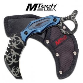 """7.5"""" Zombie Killer Series Blue Fixed Blade Knife Comes"""