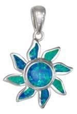 Sterling Silver Synthetic Blue Opal Sun Pendant
