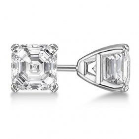 1.00ct. Asscher-cut Diamond Stud Earrings Platinum (g-h