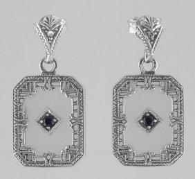 Art Deco Camphor Glass Sapphire Diamond Filigree Earrin