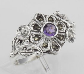 Victorian Style Genuine Amethyst And Marcasite Flower R