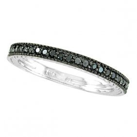 Black Diamond Stackable Ring Guard In 14k White Gold (0