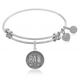 Expandable Bangle In White Tone Brass With Good Witch B