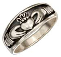 Sterling Silver Irish Claddagh Band Ring