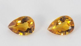 (2) 7 Mm X 5 Mm Pear Cut Golden Citrine Gemstones 1/2 C