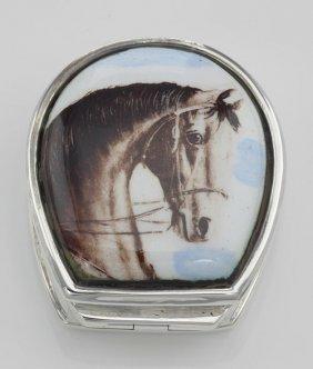 Class Porcelain Horse Head Sterling Silver Pillbox