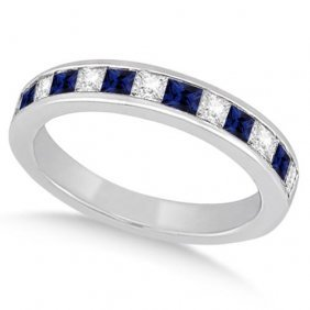 Channel Blue Sapphire And Diamond Wedding Ring 18k Whit