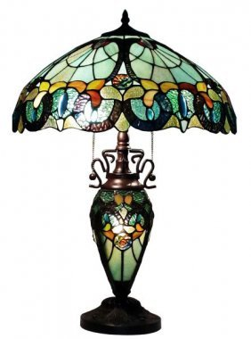 Tiffany Style Floral Table Lamp Lighted Base