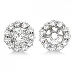 Round Diamond Earring Jackets For 4mm Studs 14k White G