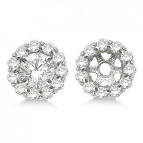 Round Diamond Earring Jackets For 5mm Studs 14k White G