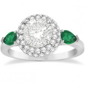 Pear Cut Emerald And Diamond Engagement Ring Setting Pl
