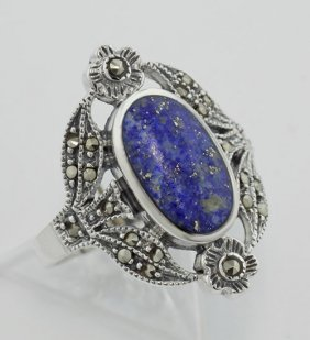 Victorian Style Lapis And Marcasite Floral Design Ring