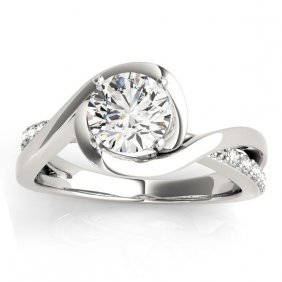 Diamond Bypass Engagement Ring Setting In 14k White Gol