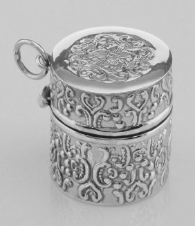Antique Style Repousse Sewing Thimble Case - Sterling S
