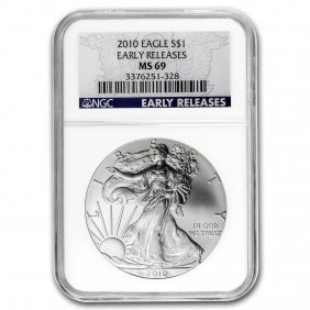 2010 Silver American Eagle Ms-69 Ngc (blue Label, Early