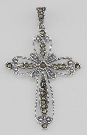 Victorian Style Filigree Marcasite Cross Pendant - Ster