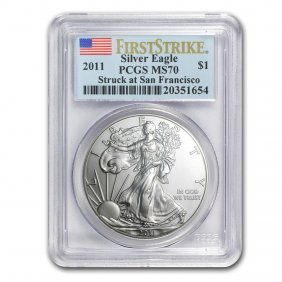 2011 (s) Silver American Eagle Ms-70 Pcgs (first Strike