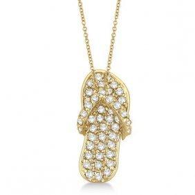 Diamond Flip Flop Pendant Necklace 14k Yellow Gold (0.5