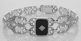 Art Deco Style Black Onyx Link Bracelet - Sterling Silv