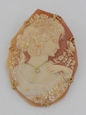 Hand Carved Cameo W/ Diamond - Art Nouveau Style - 14kt