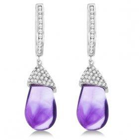 Diamond And Amethyst Drop Earrings Pear Shape 14k White