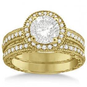 Filigree Halo Engagement Ring And Wedding Band 14kt Yel