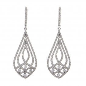 Certified 14k White Gold Diamond Fashion Dangle Earring