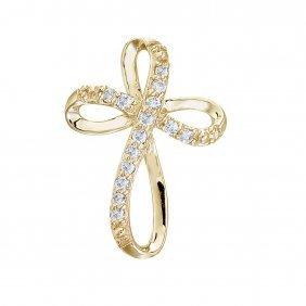 Certified 14k Yellow Gold Diamond Swirl Cross Pendant