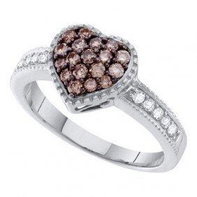 14kt White Gold 0.47ctw Cognac Diamond Heart Ring