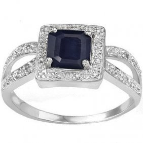 0.72 Ctw Genuine Black Sapphire & Genuine Diamond Plati