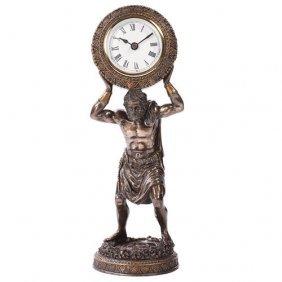 Atlas Clock Cold Cast Stone Statue