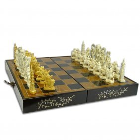 Mid 20th Century Chinese Ivory Chess Set In Mother Of