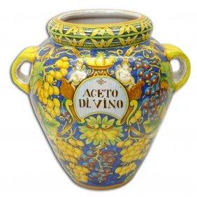 Large Italian Majolica Handled Vase. Unsigned. Good