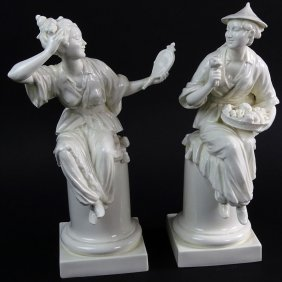 "Pair Royal Worcester White Porcelain Figurines ""le"