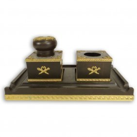 French Empire Style Patinated And Gilt Bronze Inkstand.