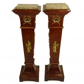 Pair Of Vintage Neo-classical Style Bronze Mounted