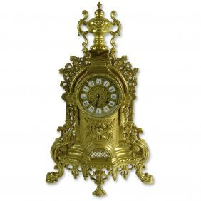 Modern Antique Style Brass Mantle Clock. Unsigned.